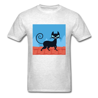 Black Cat on a Roof - Mens - light heather grey