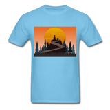 Lady and Pet on Cliff - Unisex - aquatic blue