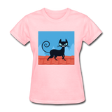 Black Cat on a Roof - Women's - pink