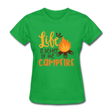 Life is Better Campfire - Women's - bright green