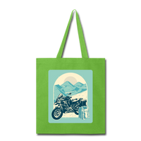 Motorcycle in the Mountains - Tote - lime green