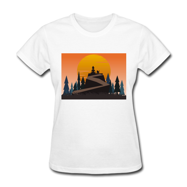Lady and Pet on a Cliff - Women's - white