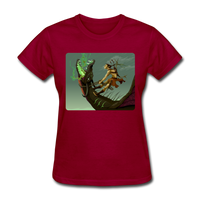 Elf on a Dragon - Women's - dark red