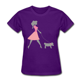 Woman in Pink Walking Dog - Women's - purple