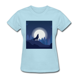 Wolf Howling at Moon - Women's - powder blue