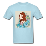 Beautiful Woman with Flowers - Men's - powder blue