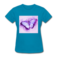 Purple and Blue Sketch Butterfly - Women's - turquoise