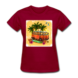 VW Bus Surfing - Women's - dark red