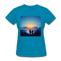 Backpackers at Sunset - Women's - turquoise