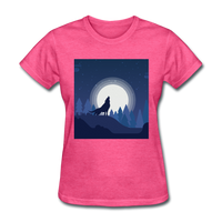 Wolf Howling at Moon - Women's - heather pink