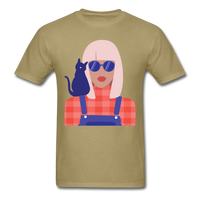 Stylish Lady with Cat - Men's - khaki