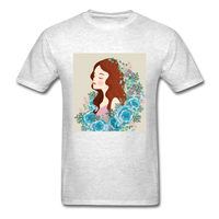 Beautiful Woman with Flowers - Men's - light heather grey