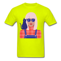 Stylish Lady with Cat - Men's - safety green