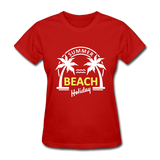 Summer Beach Holiday Design #3 Women's Tee - red