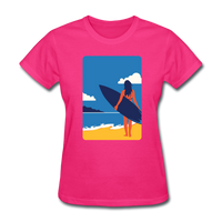 Lady with Surf Board - Women's - fuchsia