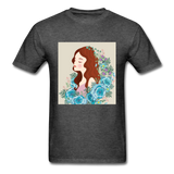 Beautiful Woman with Flowers - Men's - heather black