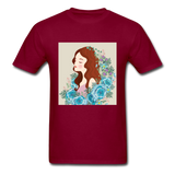 Beautiful Woman with Flowers - Men's - burgundy