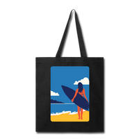 Lady with Surf Board - Tote - black
