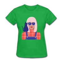 Stylish Lady with Cat - Women's - bright green