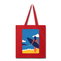 Lady with Surf Board - Tote - red