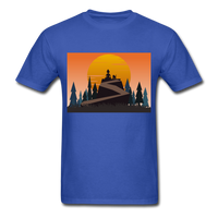 Lady and Pet on Cliff - Unisex - royal blue
