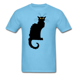 Black Cat with Yellow Eyes - Men's - aquatic blue