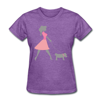 Woman in Pink Walking Dog - Women's - purple heather