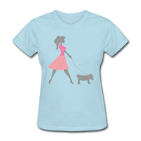 Woman in Pink Walking Dog - Women's - powder blue