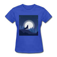 Wolf Howling at Moon - Women's - royal blue