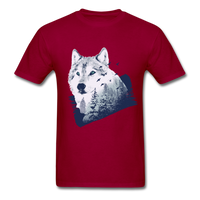 Wolf in the Forest - Men's - dark red