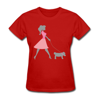 Woman in Pink Walking Dog - Women's - red