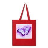 Purple and Blue Sketch Butterfly - Tote - red