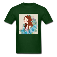 Beautiful Woman with Flowers - Men's - forest green