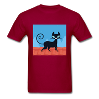 Black Cat on a Roof - Mens - dark red