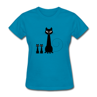 Black Cat Family - Women's - turquoise