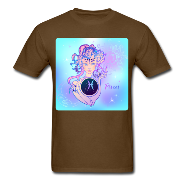 Pisces Lady on Blue - Unisex - brown