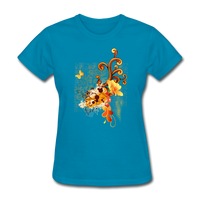 Swirls with Butterfly - Women's - turquoise