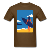 Lady with Surf Board - Unisex - brown