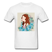 Beautiful Woman with Flowers - Men's - white
