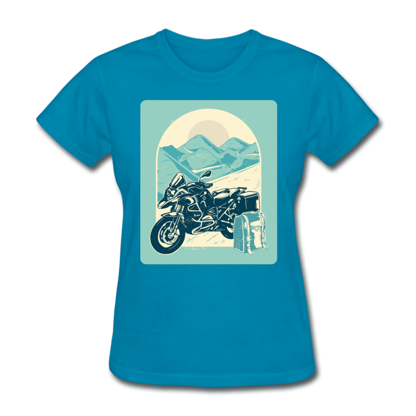 Motorcycle in the Mountains - Women's - turquoise