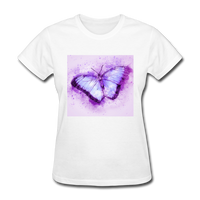 Purple and Blue Sketch Butterfly - Women's - white
