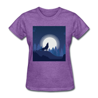 Wolf Howling at Moon - Women's - purple heather