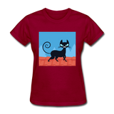 Black Cat on a Roof - Women's - dark red