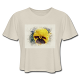 Yellow Pansy Watercolor - Women's Cropped Top - Dust