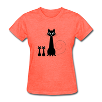 Black Cat Family - Women's - heather coral