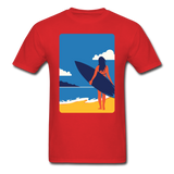 Lady with Surf Board - Unisex - red