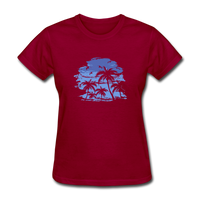 Palm Tees with Sky - Women's Tee - dark red