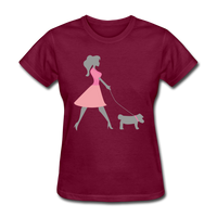 Woman in Pink Walking Dog - Women's - burgundy