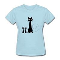 Black Cat Family - Women's - powder blue