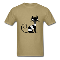 Black Cat Sitting - Men's - khaki